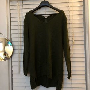 Olive Green Long Sweater w/ Detailed Back